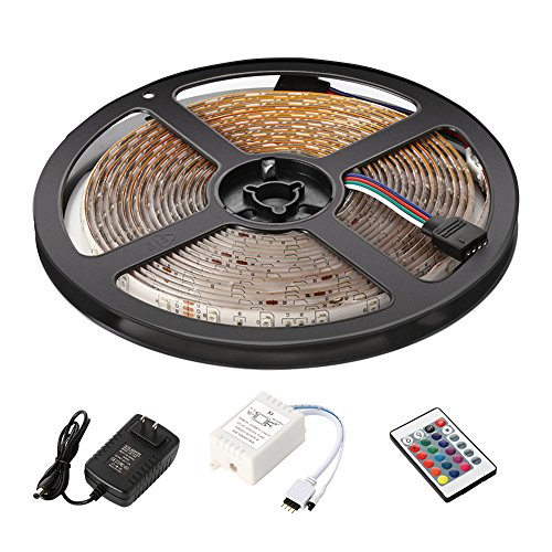 Litake LED Light Strip, DC12V UL Listed Power Supply Waterproof Flexible LED Strip Light Kit, 3528 16.4 Ft (5M) 300leds Color Changing RGB with 24key Ir Remote Controller