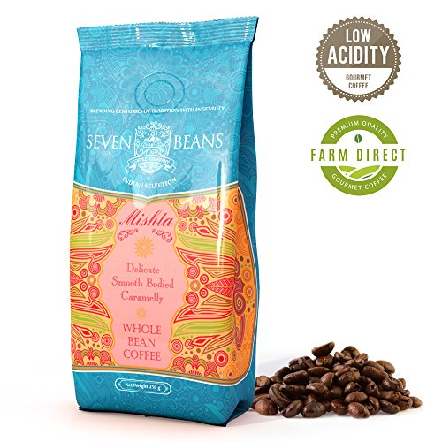 'Mishta' Whole Beans Coffee - Medium Roast - Single Origin Cold Brew Indian Gourmet AA Monsooned Malabar Speciality Coffee by Seven Beans Coffee Company (8.82 Oz)