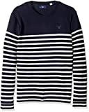 GANT Men's Cotton Stripe Crewneck Sweater, Navy, M