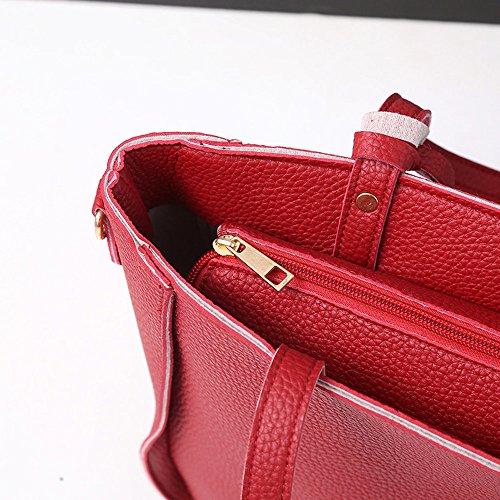 Messenger Purse Women Bags Bag Tote 4PC Casual Women Red Bag Shoulder Rcool Girls Fashion Set Bag Satchel Shoulder Handbag x1BOwRFqZ