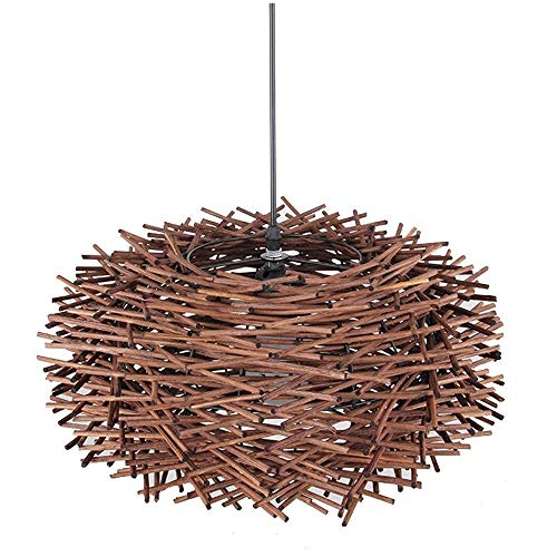 - LHJ-fashion-Chandelie Solid Wood Handmade Bird's Nest Chandelier, Restaurant Aisle Lamp Living Room Tea Room Japanese Creative Bamboo Lamp Chandelier E27 (Color : Coffee, Size : 40cm)