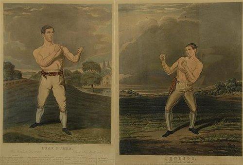 TWO Spectacular Boxing Aquatints of Bendigo & Deaf Burke (Early 19th Century) Artist Charles - Shops Bendigo
