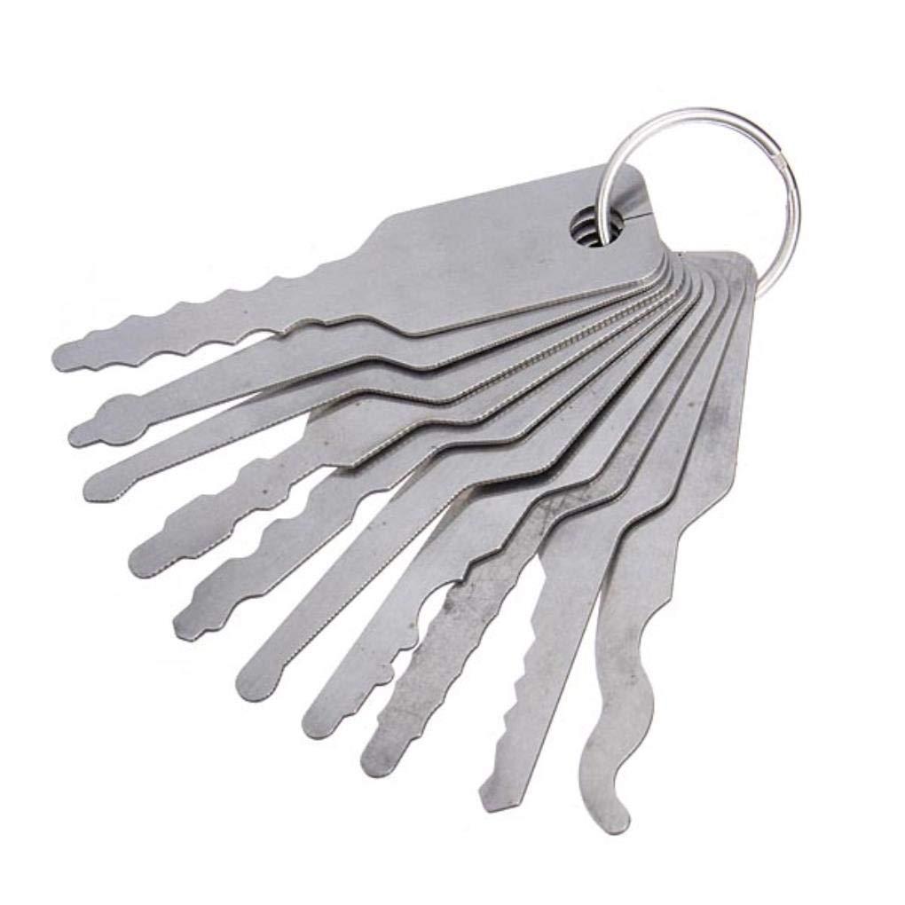 10pcs Jiggler Claves Bloqueo Escoja Por doble cara Lock selecci/ón de la cerradura de herramientas