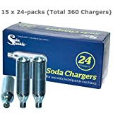 Soda Sparkle Co2 Gas Seltzer Cartridges Compatible w/ SodaSparkle and Cuisinart Soda Maker, 360-Chargers