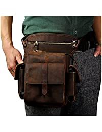 Le'aokuu Mens Genuine Leather Bike Cycling Waist Hip Bum Fanny Pack Drop Leg Bag (Dark Brown)