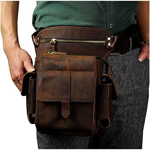 Le'aokuu Mens Genuine Leather Bike Cycling Waist Hip Bum Fanny Pack Drop Leg Bag (Brown)