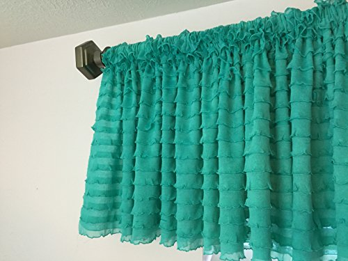 Mint Ruffle Valance Chic Extra Wide Window Treatment for Nursery, Kitchen, Living Room, Girl Bedroom
