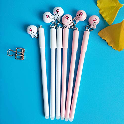 e Gel Pen Cute Kawaii with 0.5mm Point Black Ink Cartoon Rabbit Pendant Ballpoint Stationery Prizes Office School Student Kids Toy Gift Set, Make Mistakes Disappear, Fine Point ()