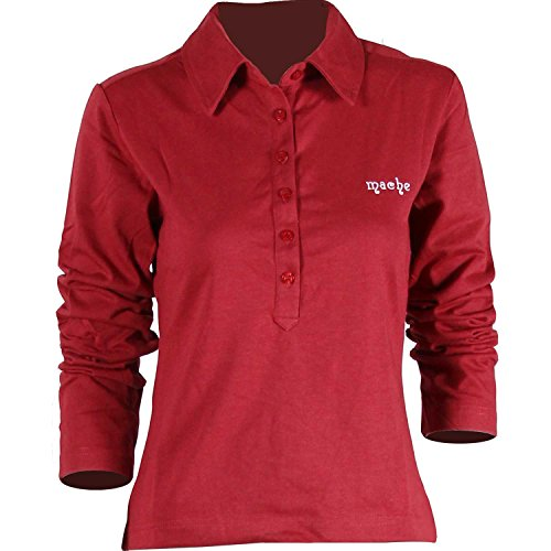 D&P Women's Long Sleeve Polo Shirts T-Shirt Top 3 Colors (M, Red)