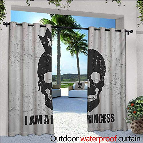I am a Princess Outdoor- Free Standing Outdoor Privacy Curtain Skull with a Crown Skeleton Halloween Theme Grunge Look for Front Porch Covered Patio Gazebo Dock Beach Home W84 x L84 Charcoal Grey a -