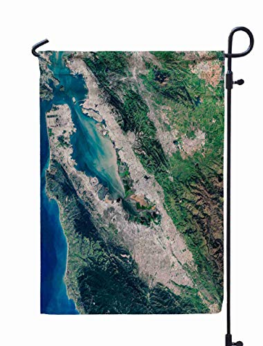 Shorping Welcome Garden Flag, 12x18Inch High Resolution Satellite Image of Silicon Valley San Francisco Oakland for Summner,Spring Yard Décor Beautiful