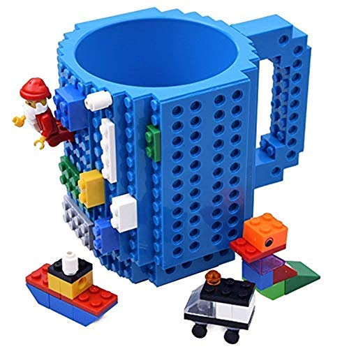 KYONNE Build-on Brick Mug, Building Blocks Coffee Cup, Unique Christmas Gift Idea, Compatible with lego (Blue) (Easter Gift Ideas For Mom And Dad)