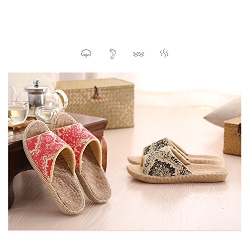 Happy Lily Slip-Ons Non-Slip Flax Open Toes Sandals Moisture Wicking Indoor or Outdoor Mules Ethnic Vintage Shoes Blue HrI5F9