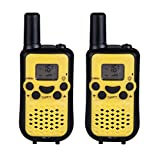 DuaFire Durable Kids Walkie Talkies, 2 Way Radio for Kids Playing Games, Back-lit LCD Screen and Strengthen VOX Free Your Hands (Pair Yellow)