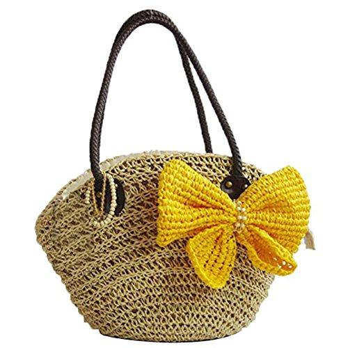 Abuyall Lady ¨¤ ud n tiss¨¦ bandouli¨¨re B ¨¤ pendentif Plage en bandouli¨¨re paille avec Sac Crochet Sac FFwgr