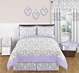 Sweet Jojo Designs 3-Piece Lavender Gray White Elizabeth Damask Print Children and Teen Full / Queen Girls Bedding Set Collection