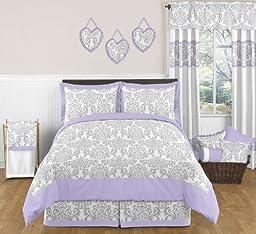 Baby/Kids Clothes Laundry Hamper for Lavender, Gray White Damask Print Elizabeth Bedding Collection
