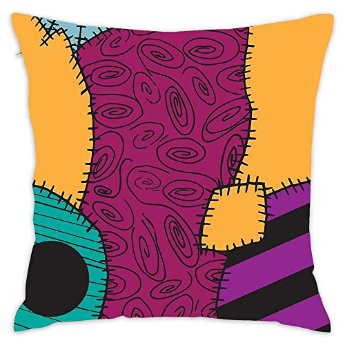Asefcnxkjii Nightmare Before Christmas Sally Pattern Cotton Linen Home Decorative Throw Pillow Case Cushion Cover for Sofa Couch 1818 inch ()