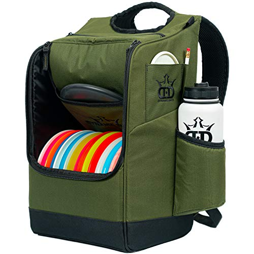 Dynamic Discs Sniper Disc Golf Backpack   16 Disc Storage in Main Compartment   Deep Top Zippered Pocket to Hold Additional Disc Golf Accessories   Two Water Bottle Holders (Olive)