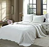 Cozy Line Home Fashions 100% COTTON Victorian Embossed Medallion Solid White Bedding Quilt Set, Reversible Coverlet, Bedspread For Bedroom Guestroom (Blantyre - White, Twin - 2 piece)