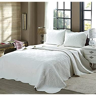Cozy Line Home Fashions Victorian Medallion Solid White Matelasse Embossed 100% Cotton Bedding Quilt Set,Reversible Bedspread, Coverlet (Blantyre - White, King - 3 Piece)