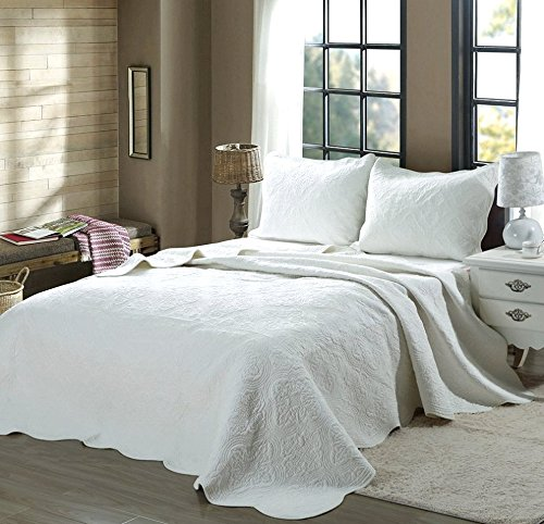 Cozy Line Home Fashions Victorian Medallion Solid White Matelasse Embossed 100% Cotton Bedding Quilt Set,Coverlet,for Bedroom/Guest Room (Blantyre - White, King - 3 Piece) by Cozy Line Home Fashions (Image #7)
