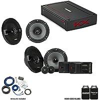 "Kicker 44KSS6504 6.5"" KS-Series Component Speakers & 44KSC6504 6.5"" Speakers with 44KXA4004 KX-Series Amp and wire kit"