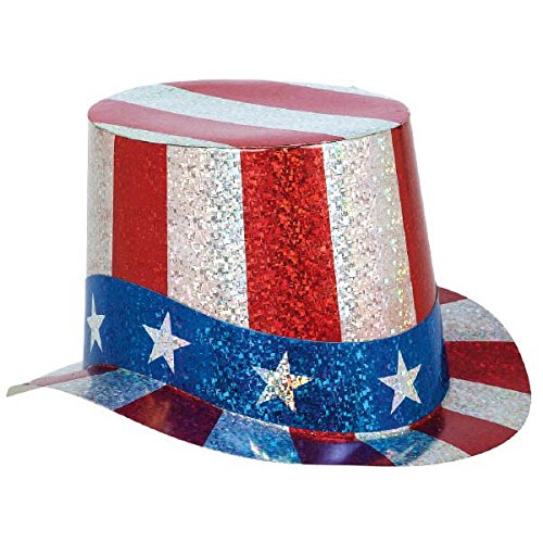 Stars and Stripes Fourth of July Pristmatic Paper Top Hat Accessory, (Fourth Of July Costumes)