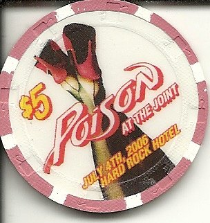 $5 hard rock hotel poison las vegas nevada casino chip