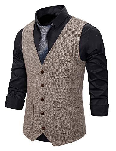 Atryone Men's Herringbone Vest Slim Fit Wool Tweed Suit Vest V-Neck Sleeveless Wedding Waistcoat