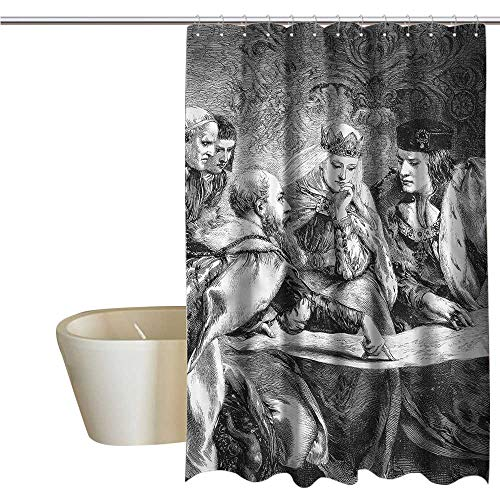 (Denruny Shower Curtains Navy Victorian,American History Theme,W36 x L72,Shower Curtain for clawfoot tub )