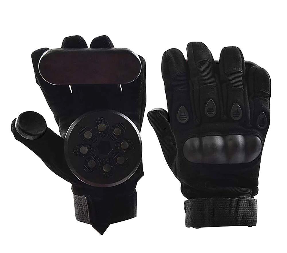 Nimbus Downhill Slide Gloves with 2pcs Spark-Stone Slider Pucks for Skateboard Longboard (Black) by Nimbus