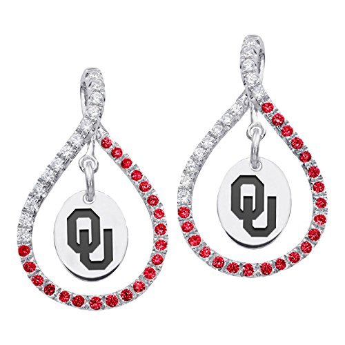 - University of Oklahoma Sooners Sterling Silver and Red Cz Figure 8 Style Earrings