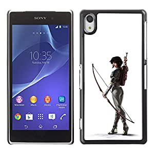 Shell-Star Art & Design plastique dur Coque de protection rigide pour Cas Case pour SONY Xperia Z2 / D6502 / D6503 / D6543 / L50W / L50t / L50u ( White Archer Butt Sexy Woman Arrow )