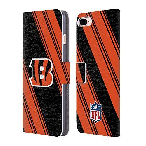 Official NFL Stripes 2017/18 Cincinnati Bengals Leather Book Wallet Case Cover for Apple iPhone 7 Plus / 8 Plus - Cincinnati Bengals Book Cover