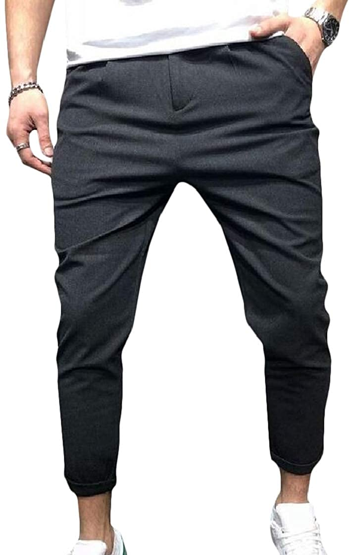 Abetteric Men Easy Care Business Casual Straight Loose Pockets Dress Pant