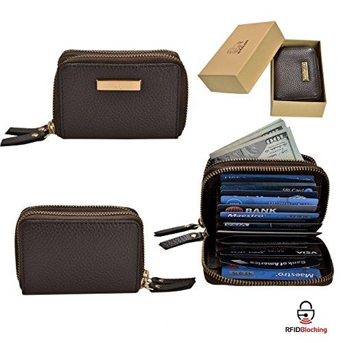 Estalon Women's RFID Blocking Large Capacity Luxury Genuine Leather Clutch Wallet Card Holder Organizer Ladies Purse (Brown Pebble, 4.1