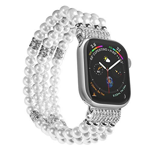 Imymax Replacement for Apple Watch Band 38/40mm Handmade Beaded Elastic Stretch Faux Pearl Bracelet Replacement iWatch Strap/Wristband for iWatch Series 3, Series 2, Series 1 - White for Women Girl