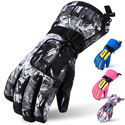 Ski Gloves, Acokac Waterproof Breathable Winter Warm Gloves with Waterproof Membrane Insert and Zipper Pocket for Men Kids Boys, Perfect for Snow Skiing Snowboard Snowmobile(Black White Camo) (Kids Boys Ski Jacket)