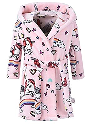 Kids Bathrobes Girls Boy Baby Toddler Unisex Children's Robe Hooded Flannel Bathrobe Pajamas