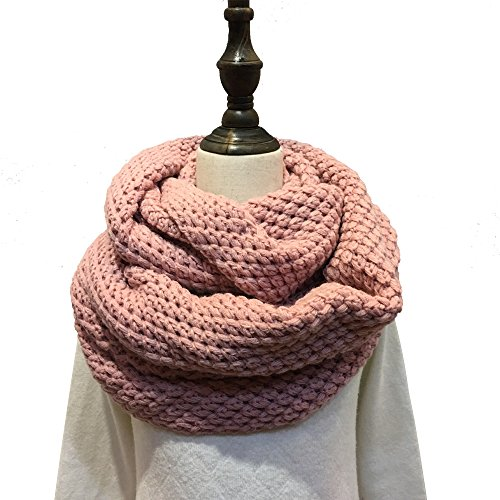 Spring fever Winter Thick Ribbed Scarf Womens Warm Infinity Circle Loop Simple Scarves Pink