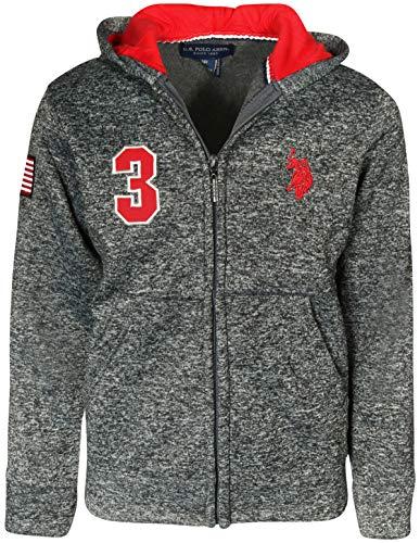 (U.S. Polo Assn. Boys Fleece Zip Up Hoodie (Red, 8) )