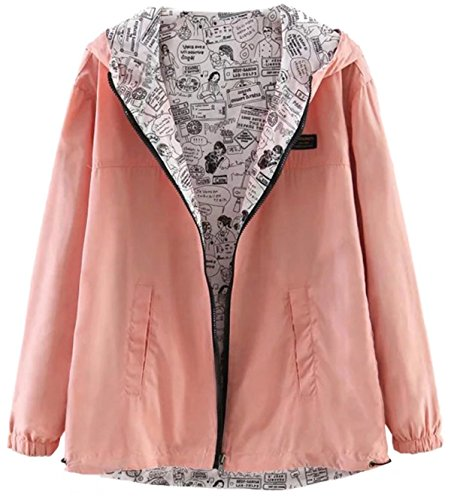 Betusline Women's Junior's Fashion Hoodies Jacket Coat Pink