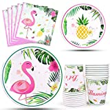 WERNNSAI Flamingo Party Supplies - Luau Party Tableware Set for Girl Kids Birthday Baby Shower Tropical Hawaiian Disposable Dinner Dessert Plates Napkins Cups Serves 16 Guests 64PCS