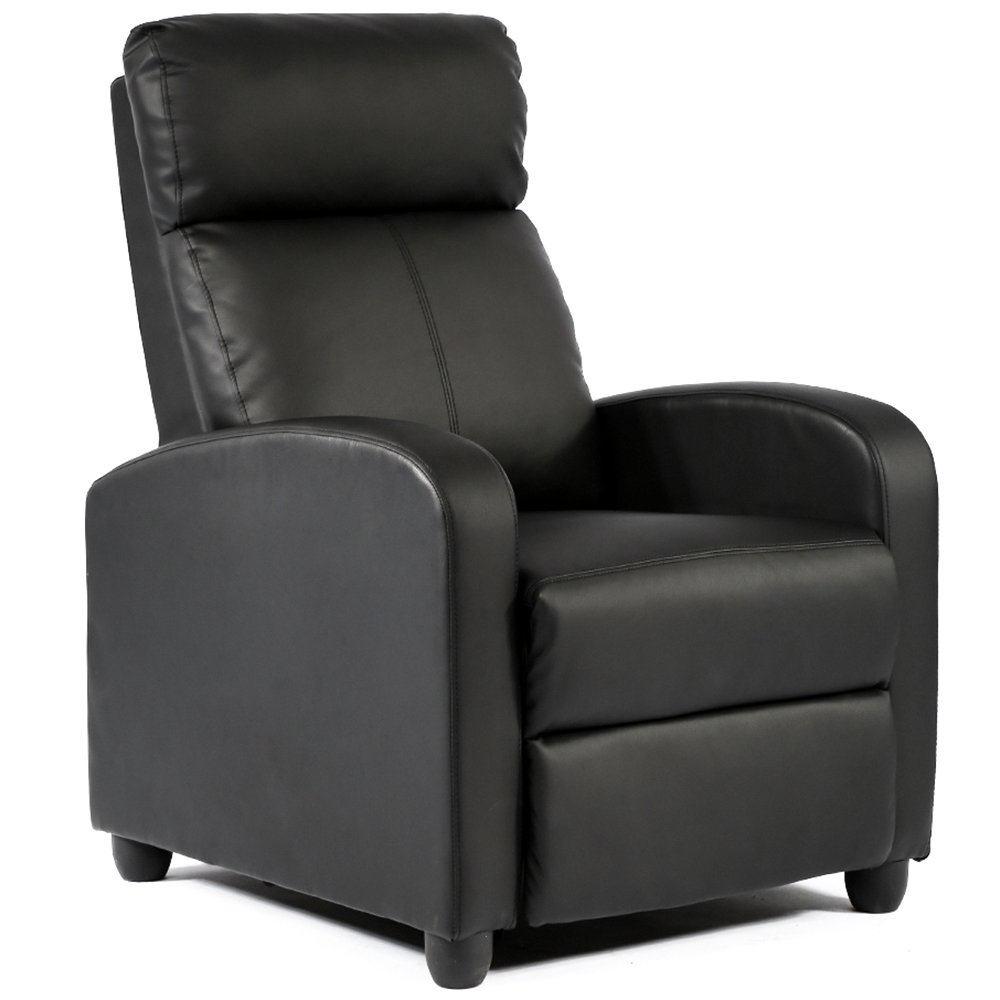 Amazon com fdw wingback recliner chair leather single modern sofa home theater seating for living room black kitchen dining