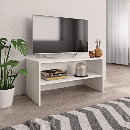 UnfadeMemory Mueble para TV,Mesa para TV,Estante de TV para Salón Dormitorio,Estilo Clásico,con Compartimento Abierto,Madera Aglomerada (Blanco, 120x40x40cm): Amazon.es: Hogar