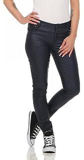 Fashion4Young 11104 Damen Röhrenhose Slimline Leder-Look Lederimitat  Damenhose Wetlook Hose 4e7c76e0f8