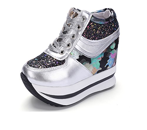 Wedges Lace Casual Shoes Womens Flat Heels Higher Within up YC Black Platform The Sneaker WELL High Increased RxzqggUO