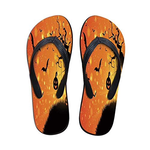 Halloween Modern Flip Flops,Magical Fantastic Evil Night Icons Swirled Branches Haunted Forest Hill Decorative for Party & House & Other Events,US Size 5]()