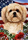 Lhasa Apso Dog Breed Patriotic House Flag 28 x 40 Inches For Sale